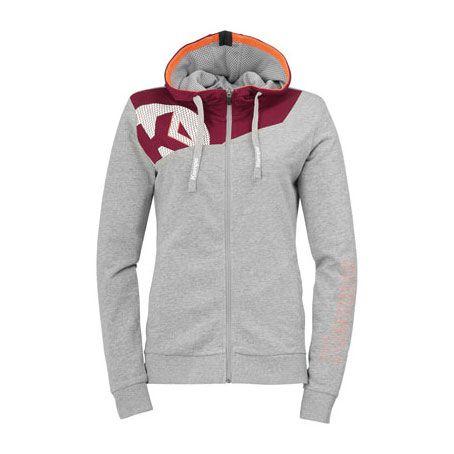 Dames Kempa Core 2.0 Hooded Jacket - Grijs-Diep Rood